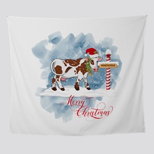 Merry Christmas Cow North Pole Wall Tapestry
