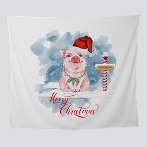 Merry Christmas Pig North Pole Wall Tapestry