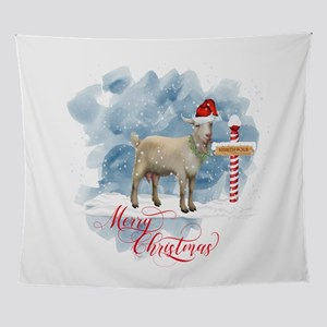 Merry Christmas North Pole Goat Wall Tapestry