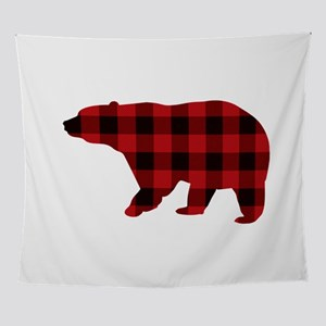 lumberjack buffalo plaid Bear Wall Tapestry