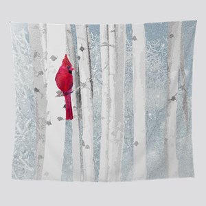 Red Cardinal Bird Snow Birch Trees Wall Tapestry