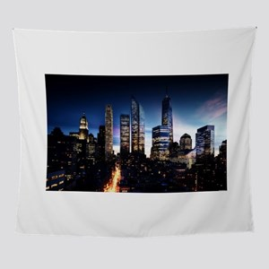 City Skyline at Night Wall Tapestry