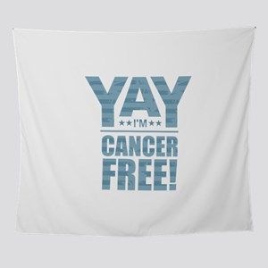 Cancer Free - Blue Wall Tapestry