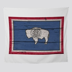 Wyoming State Flag On Old Timber Wall Tapestry