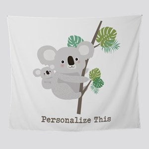 Personalized Mother Baby Koala Wall Tapestry