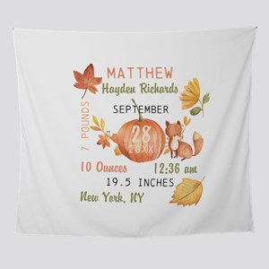Fall Baby Birth Stats Wall Tapestry