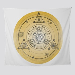 Yellow geometric design, sacred geom Wall Tapestry