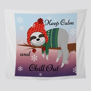 Keep Calm and Chill Out Sloth Wall Tapestry