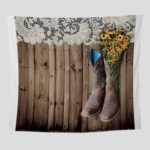 barnwood cowboy boots country Wall Tapestry