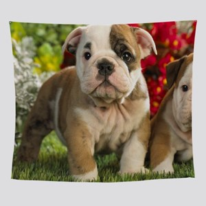 Cute English Bulldog Puppy Wall Tapestry