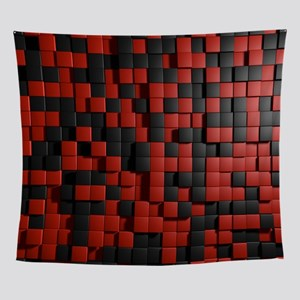 Abstract Black Red Modern 3D Tiles Wall Tapestry