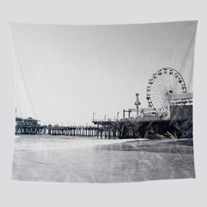 Frosted Santa Monica Pier Wall Tapestry