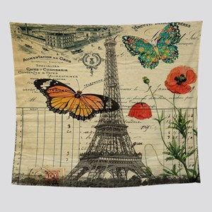 butterfly paris eiffel tower Wall Tapestry