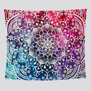 Namaste Red Purple Pink Blue Mandala Wall Tapestry