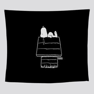 Snoopy on House Black and White Wall Tapestry
