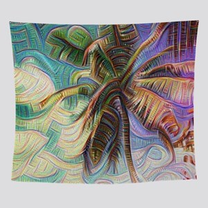 Abstract Rainbow Palm Tree Wall Tapestry