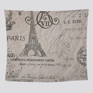 french scripts paris eiffel tower Wall Tapestry