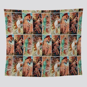 Alfons Mucha 1896 The Seasons Wall Tapestry