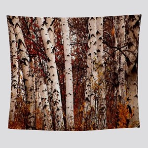 fall landscape birch tree Wall Tapestry