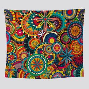 Funky Retro Pattern Wall Tapestry
