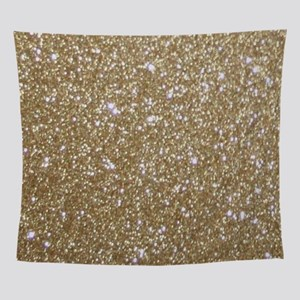 Girly Glam Gold Glitter Wall Tapestry