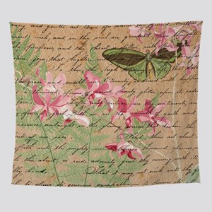 Vintage Orchid Fern Collage Wall Tapestry