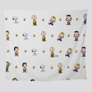 Peanuts Gang Collage White Wall Tapestry