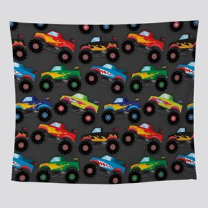 Cool Monster Trucks Pattern, Colorfu Wall Tapestry