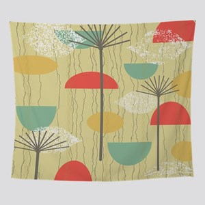Mid Century Modern Barkcloth Pattern Wall Tapestry