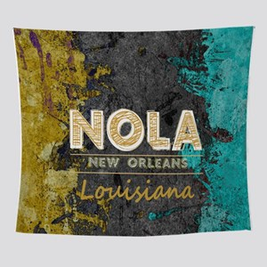NOLA New Orleans Black Gold Turquois Wall Tapestry