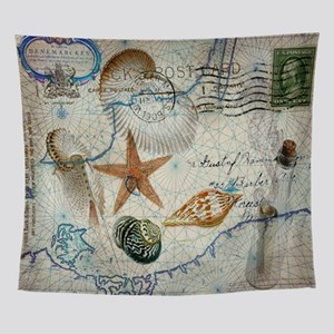 seashells nautical map vintage ancho Wall Tapestry