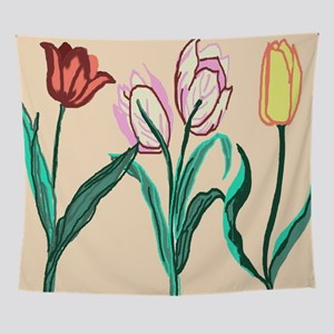 Tulip Bordering Pattern lt pink Wall Tapestry