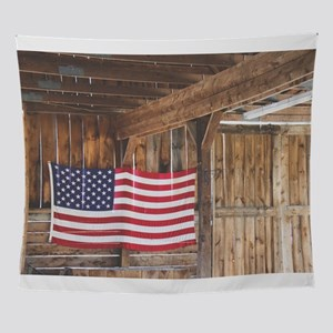Rustic Country Barn with American Fl Wall Tapestry