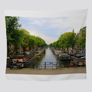 Canal, bridges, bikes, boats, Amster Wall Tapestry