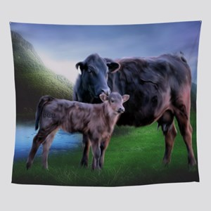 Black Angus Cow and Calf Wall Tapestry