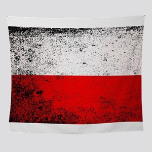Flag of Poland Grunge Wall Tapestry