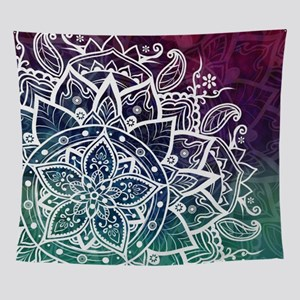 Free Spirit Mandala Purple Green Blu Wall Tapestry