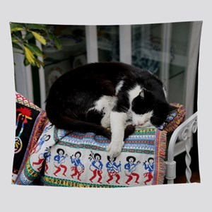 Cat napping in Portugal Wall Tapestry