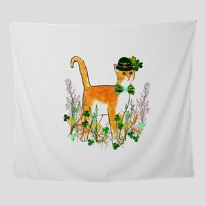 St. Patrick's Day Cat Wall Tapestry