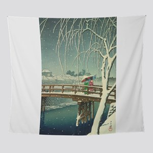 Snow At Edo River Hasui Kawase winte Wall Tapestry