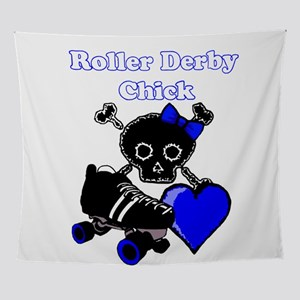 Roller Derby Chick (Blue) Wall Tapestry
