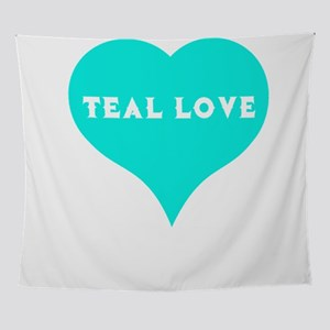 Food Allergy Teal Love Teal Heart Wall Tapestry