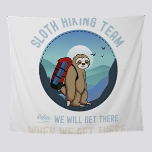 Sloth Hiking Team We Will Get There Wall Tapestry