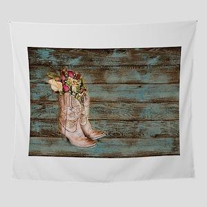 b502140916dfd cowboy boots barn wood Wall Tapestry