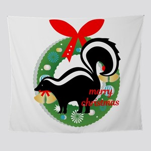 merry christmas skunk Wall Tapestry