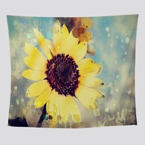 summer botanical watercolor sunflowe Wall Tapestry