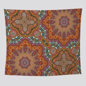 turquoise orange bohemian moroccan Wall Tapestry
