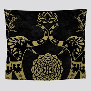 Lotus Flower Elephants Mandala Gold Wall Tapestry