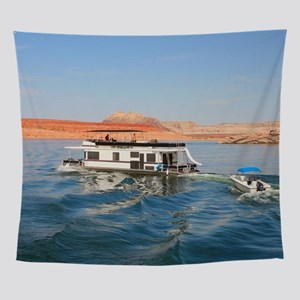 Houseboat making waves, Lake Powell, Wall Tapestry