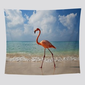 Flamingo On The Beach Wall Tapestry